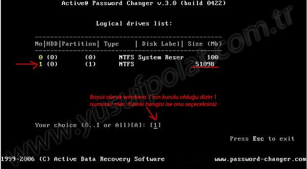 Windows 7 Şifre Sıfırlama Resimli Anlatım 2