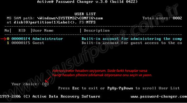 Windows 7 Şifre Sıfırlama Resimli Anlatım 4