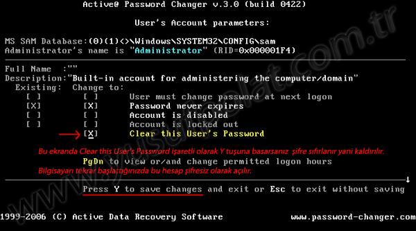 Windows 7 Şifre Sıfırlama Resimli Anlatım 5